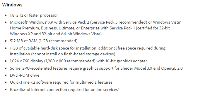 Adobe Photoshop CS4 Extended Edition System Requirements