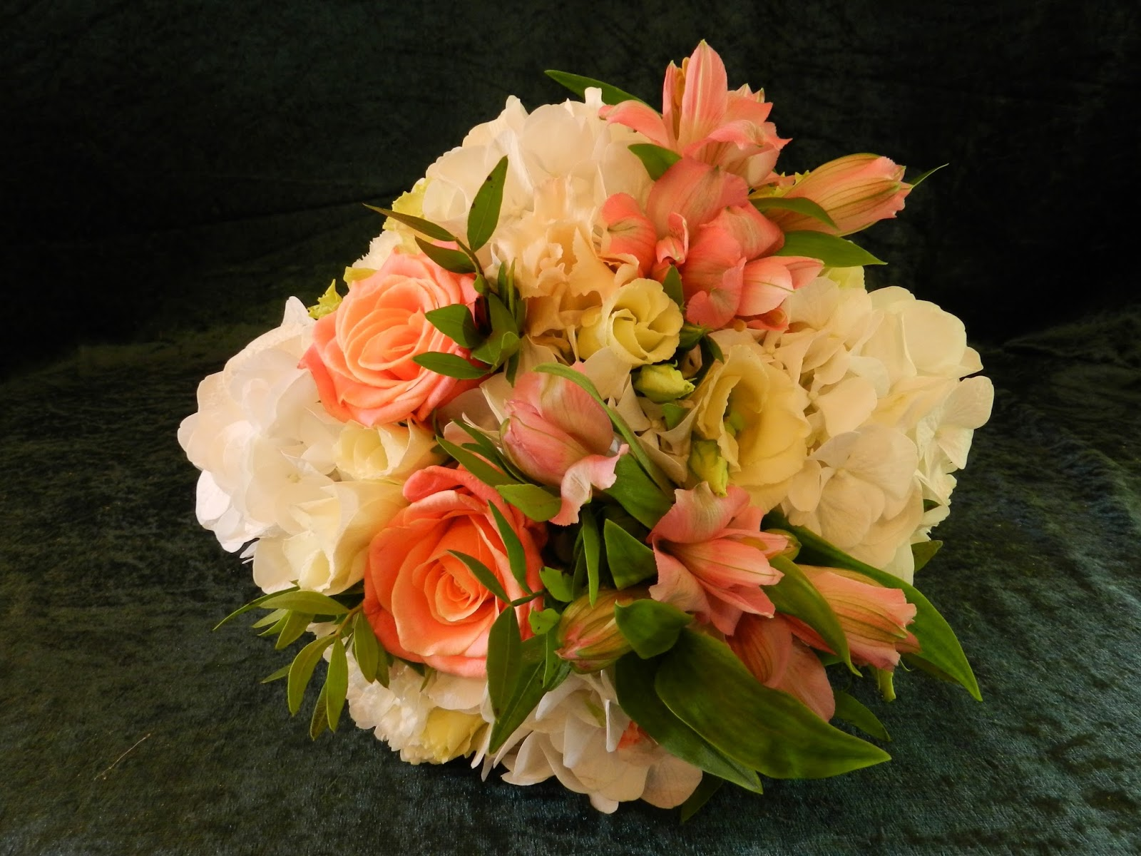 Sandra's Flower Studio: Coral and ivory wedding flowers