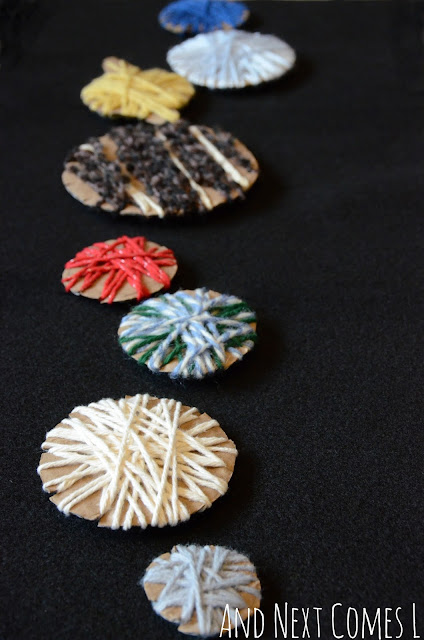 Outer space craft for kids using yarn and cardboard