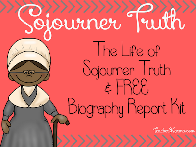 FREE Sojourner Truth Biography Writing Kit perfect for Black History Month TeacherKarma.com