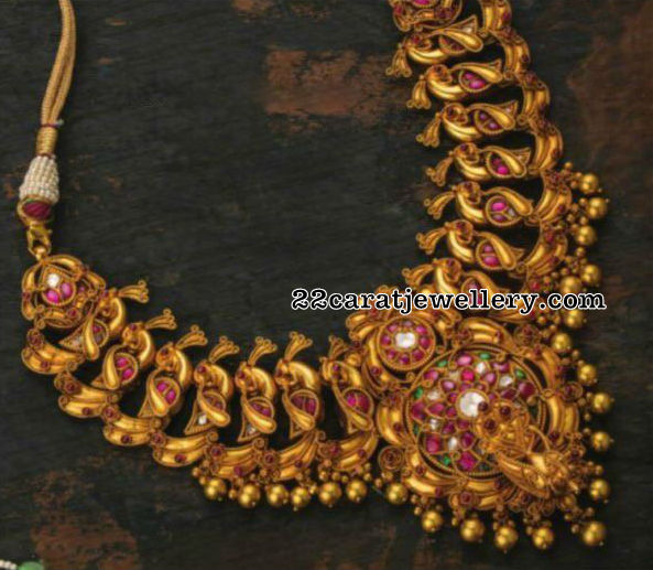 Antique Peacok Choker with Rubies