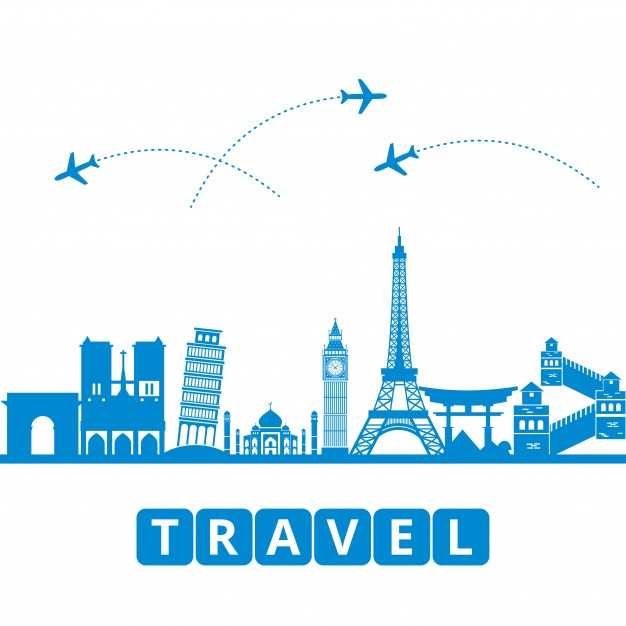 Travel concept with landmarks Free Vector