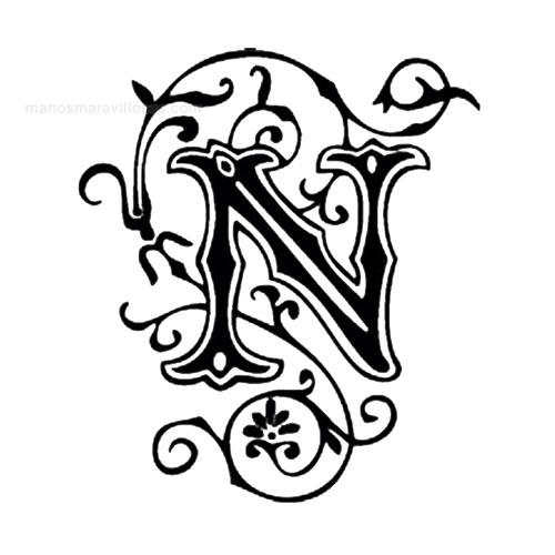 Letra A Decorada Con Hiedra Para Tatuar