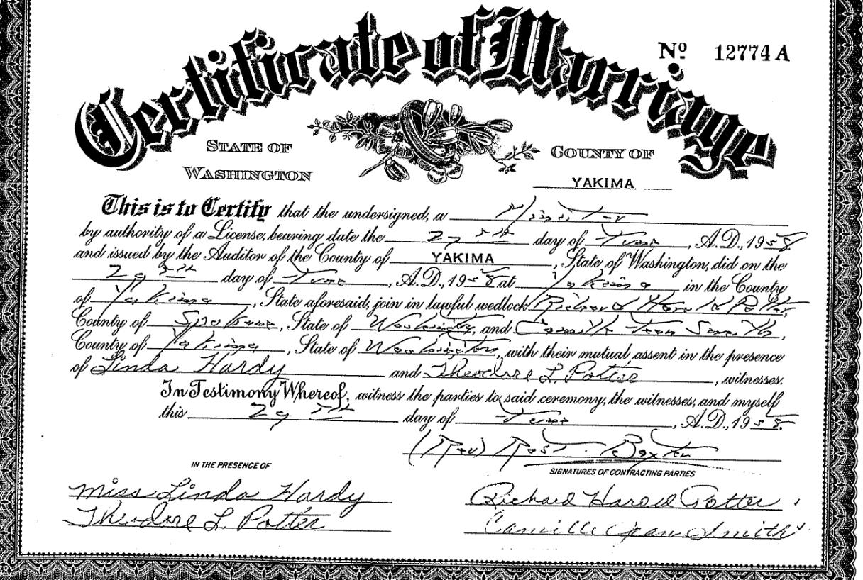 Potter Profiles Potter Smith Marriage 1958 Yakima Wa
