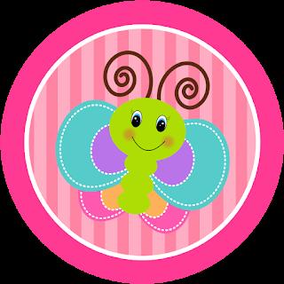Toppers o Etiquetas de Divertida Mariposa para imprimir gratis.