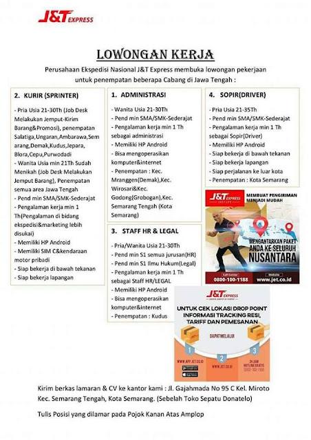 Loker J&T Express Cabang Jawa Tengah