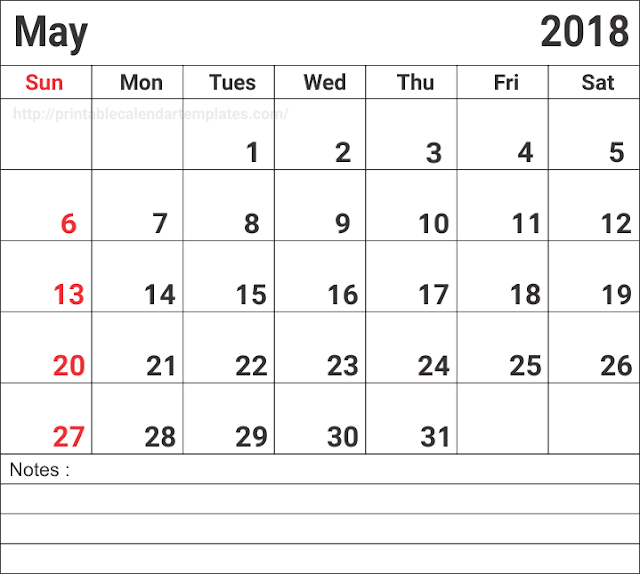 Print free May 2018 Printable Calendar, May 2018 Calendar, May 2018 Calendar Printable, May 2018 Calendar Templates, May 2018 Calendar Holidays, May 2018 Blank Calendar