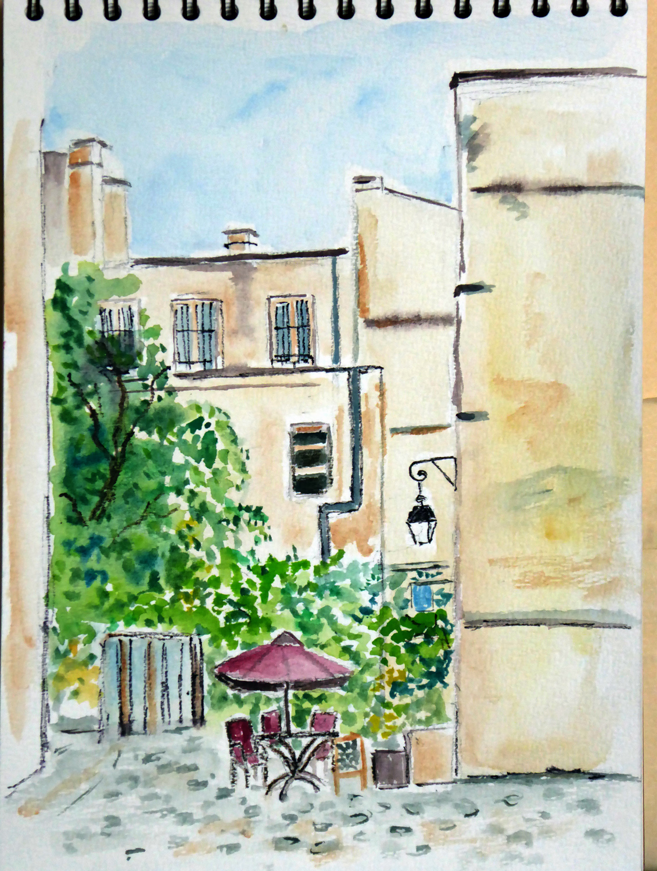 croquis aquarelle village saint paul