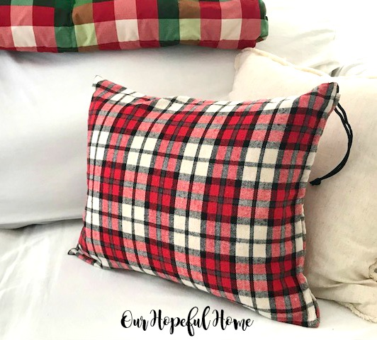 red white black check plaid flannel drawstring gift sack Christmas pillow