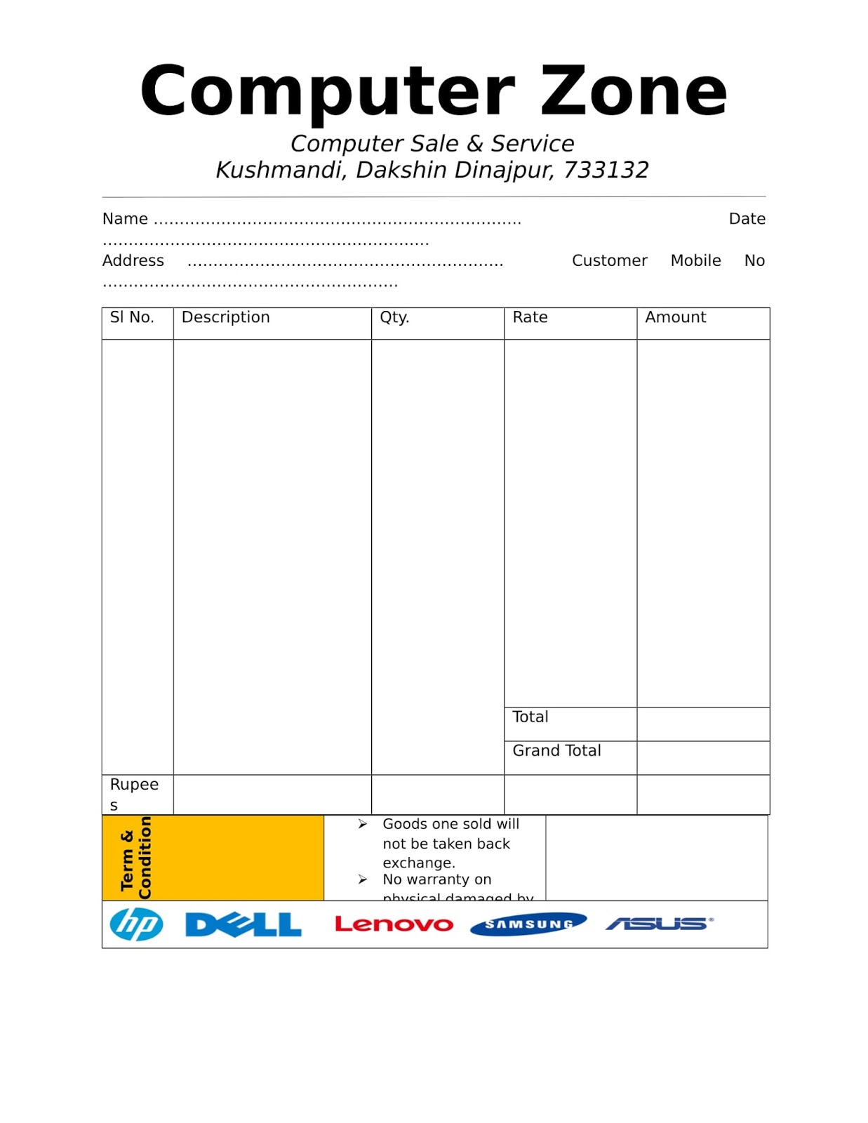 Download   Simple Invoice Format, Bill Format Word , PDF, Image Format  Bill Format In Word