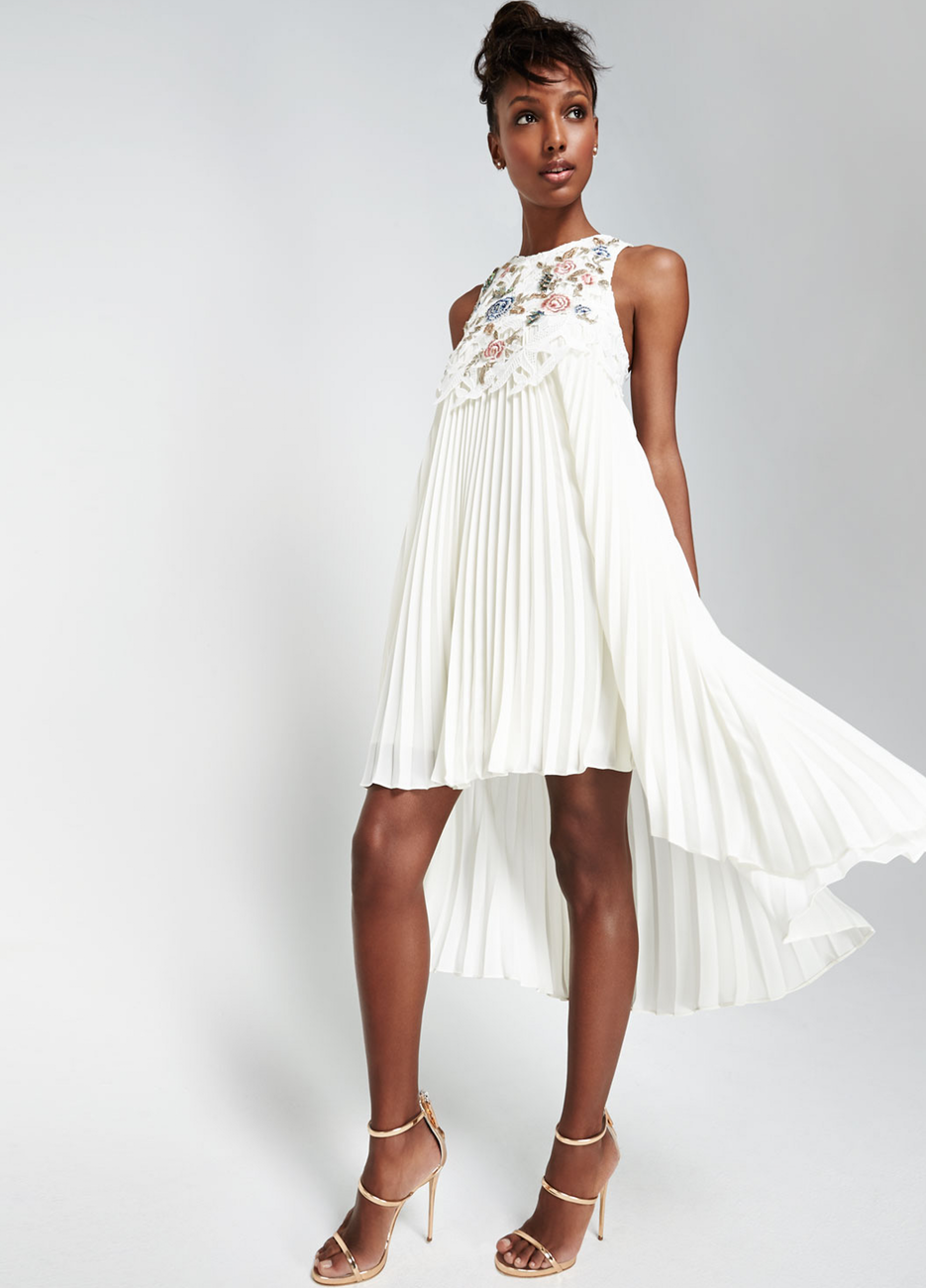 Sachin & Babi Noir Embroidered-Front Sleeveless Cocktail Dress, Ivory
