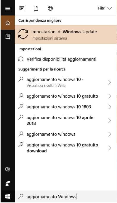 Ricerca aggiornamenti Windows