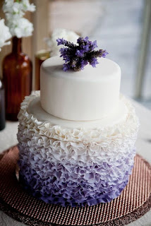 Simple Patterned Lavender Wedding Cakes