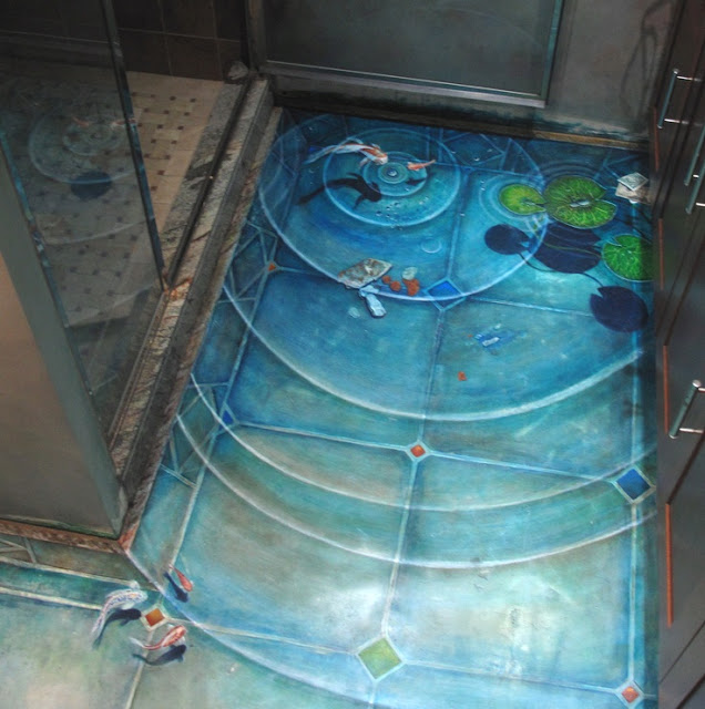 Awesome 3d bathroom floor murals with waves effect