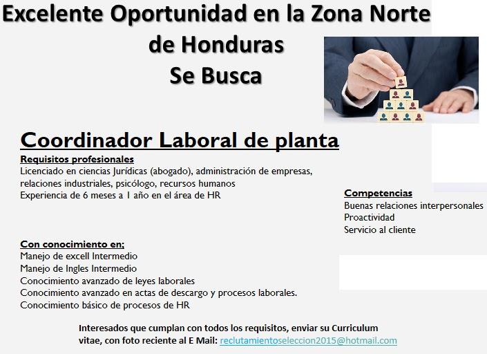 Coordinador Laboral De Planta Zona Norte Empleos En Honduras