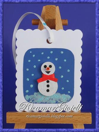 Segnalibri natalizi in quilling - Pupazzo di neve