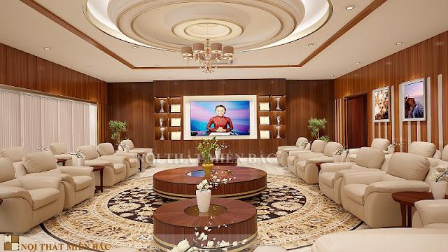 Lựa chọn những sắc màu gỗ cũng mang đến cho căn phòng sự sang trọng và lịch lãm trong thiết kế phòng khánh tiết chuyên nghiệp