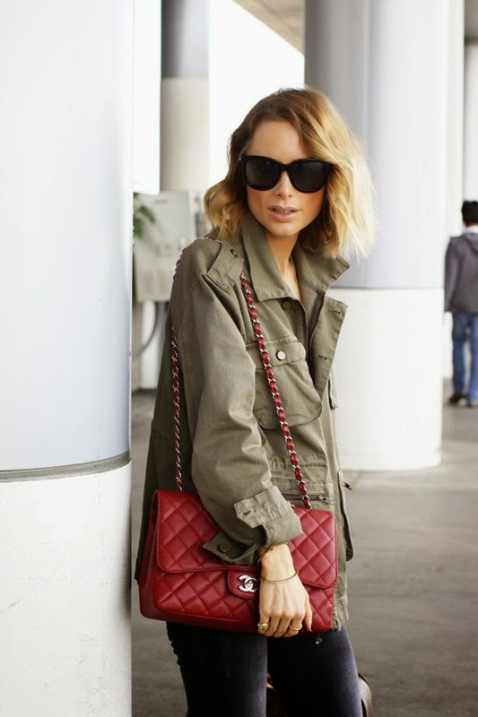 Wearing a Military Jacket with Classic Red Chanel Bag for pop of color