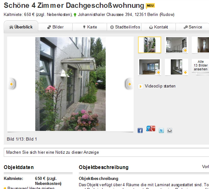 sch ne 4 zimmer dachgescho wohnung johannisthaler chaussee 394. Black Bedroom Furniture Sets. Home Design Ideas