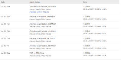 Pakistan, Australia and Zimbabwe T20 Tri Series 2018