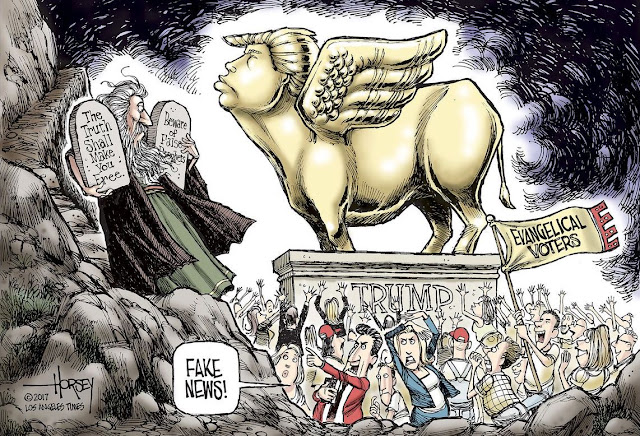 Moses descents from Mt. Sinai to find Evangelical voters worshipping a golden calf in the image of Donald Trump.