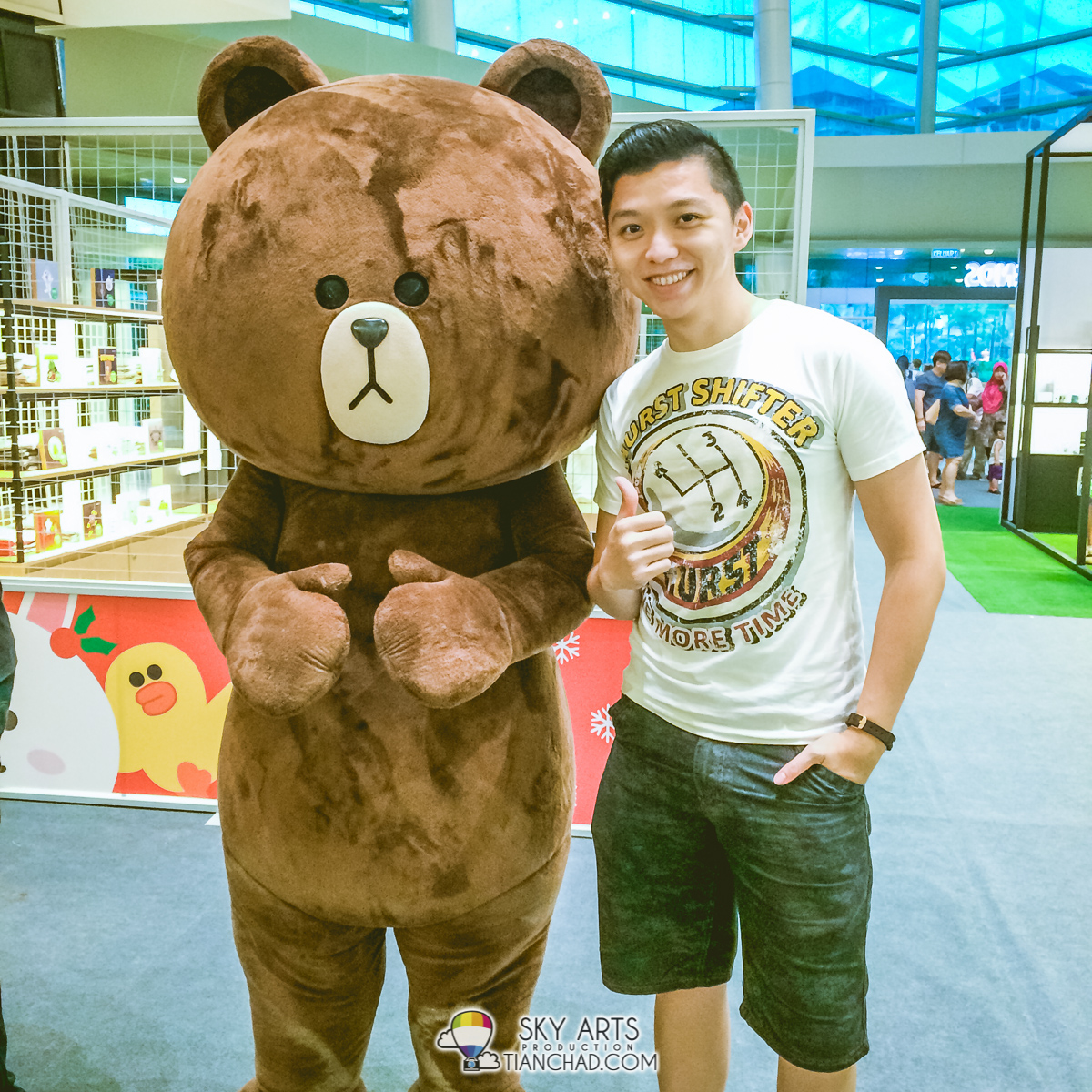 Photo with Brown LINE Mascot at LINE Friends Pop-Up Store
