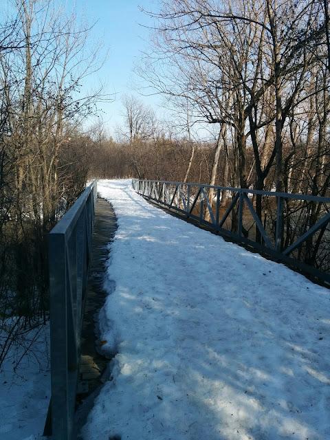 Winter Walking Path over Wooden Bridge Gatineau Ottawa