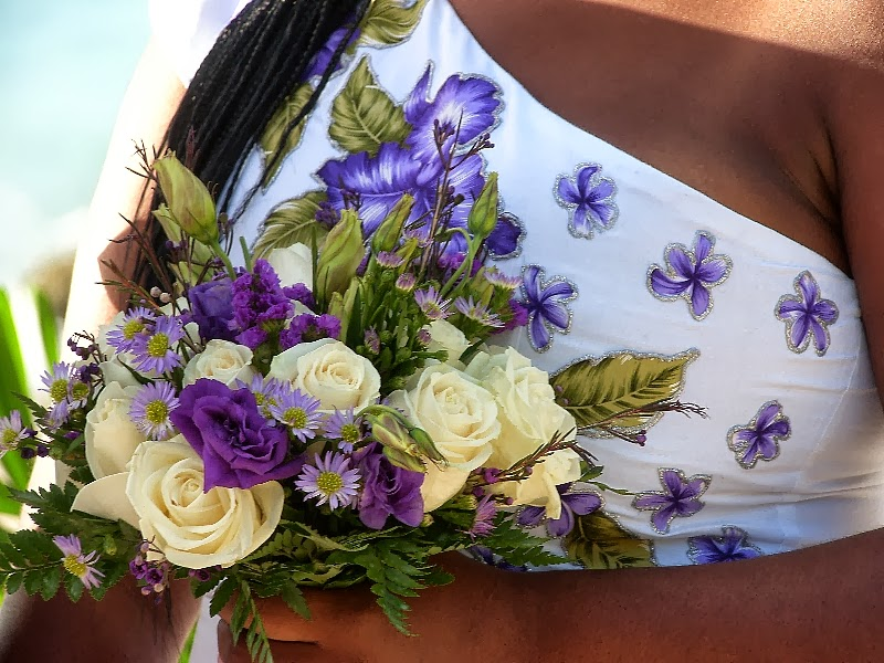Destination Beach Wedding Ideas: White And Purple Bridal