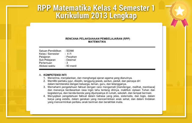 RPP Matematika Kelas 4 Semester 1 Kurikulum 2013 Lengkap