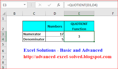 How to Use Quotient Function in Excel