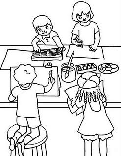 Colorea Tus Dibujos Dibujo Niños Haciendo Tareas Para Colorear