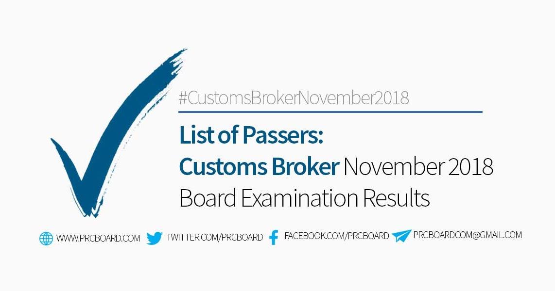 Customs Broker Board Exam Results November 2018 – List of
