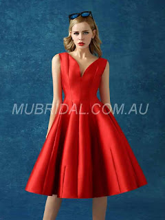 Summer Knee-Length V-Neck Prom Sleeveless All Sizes Red A-line Dress