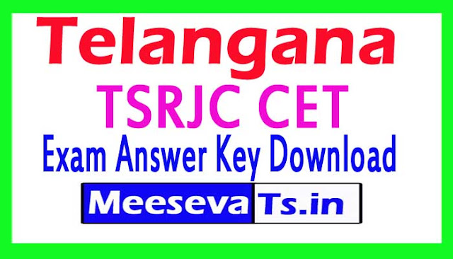 TSRJC CET  Exam Answer Key Download 2018