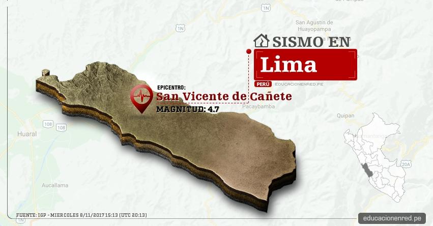 Temblor en Lima de 4.7 Grados (Hoy Miércoles 8 Noviembre 2017) Sismo EPICENTRO San Vicente de Cañete - IGP - www.igp.gob.pe