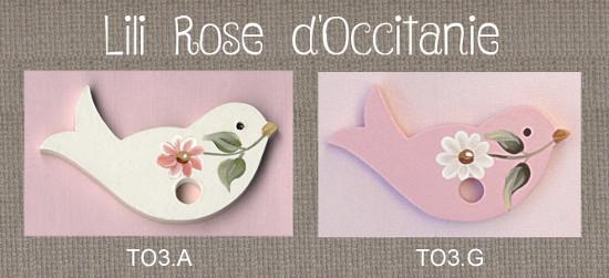 Tri-fils bois peint: oiseau blanc ou rose + marguerite. Broderie et point de croix