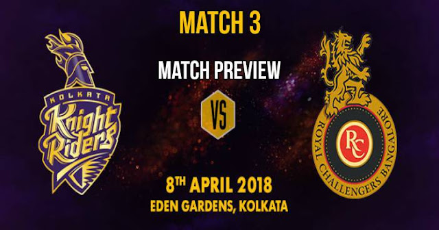 IPL 2018 Match 3 KKR vs RCB: Preview, Prediction and Head to Head: Who Will Win?