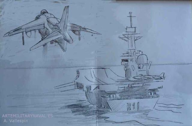 Dibujo del avión Harrier aterrizando sobre portaaviones Príncipe de Asturias