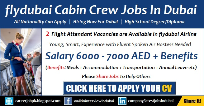 flydubai Careers and Jobs 2017 for Cabin Crew Latest Advertisement