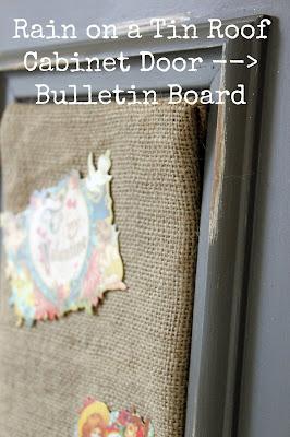 Cabinet Door turned Bulletin Board {rainonatinroof.com} #bulletinboard #organization #door #cabinet #DIY