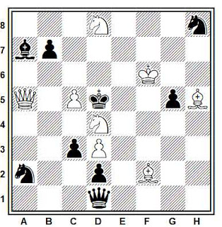 Problema de mate en 2 compuesto por Francisco Salazar (1°-2º Premio, The Problemist 1980-II)