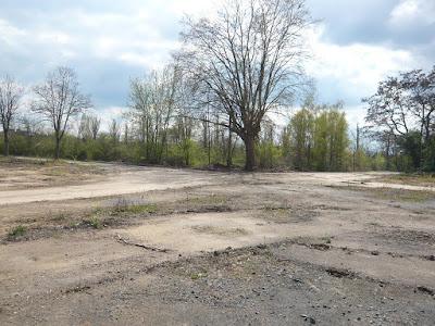 Fundamentreste auf dem Boden. Im Hintergrund stehen Bäume