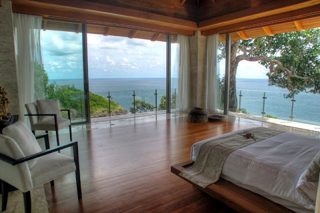 Bedroom in Villa Liberty, Phuket overlooking the ocean