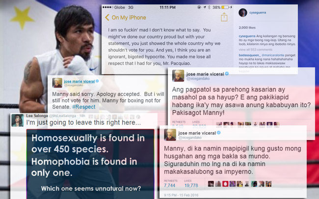 Manny Pacquaio apologized after raking criticism from the offended LGBT community.