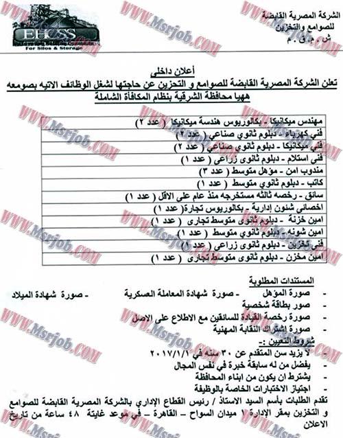 وظائف الشركة المصرية القابضة للصوامع والتخزين للمؤهلات العليا والمتوسطة والتقديم حتى 11 / 12 / 2016