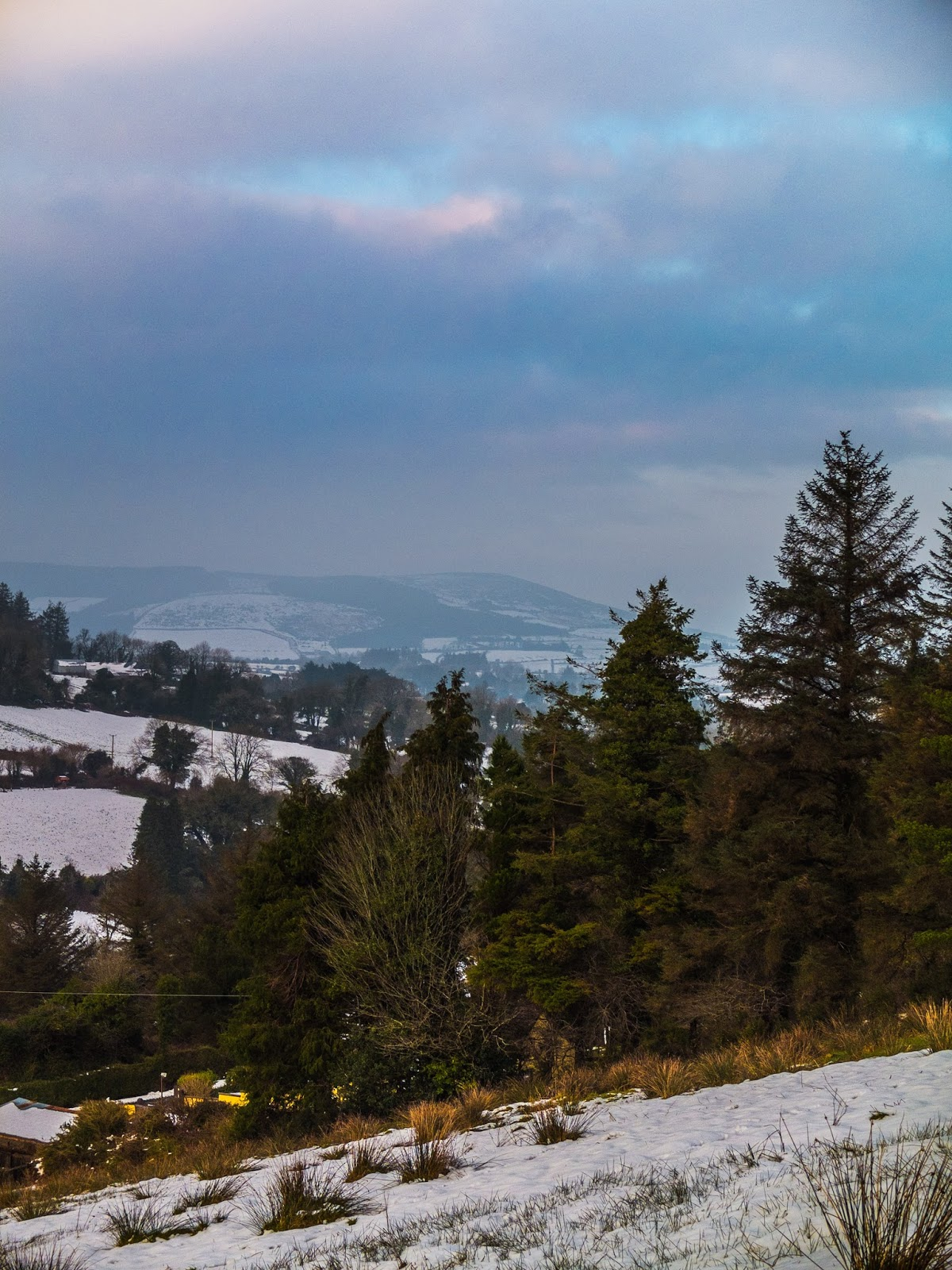 Snow mountain side landscape with a view of Mount Hilary in North County Cork.