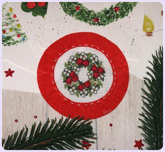 "Card  design  ""Christmas  Wreath""  Ellen  Maurer - Stroh."