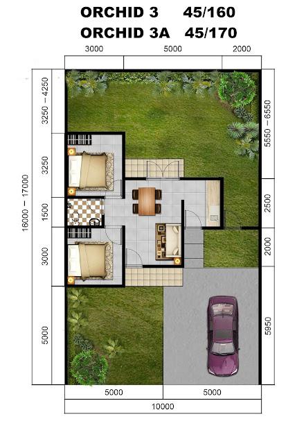 Denah Rumah Tipe ORCHID 3, 45/160 dan 3A, 45/170 Citra Indah City