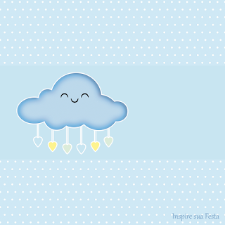 Rain of Blessings in Light Blue and Yellow  Free Printable Labels.