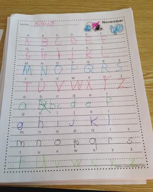 monthly handwriting book